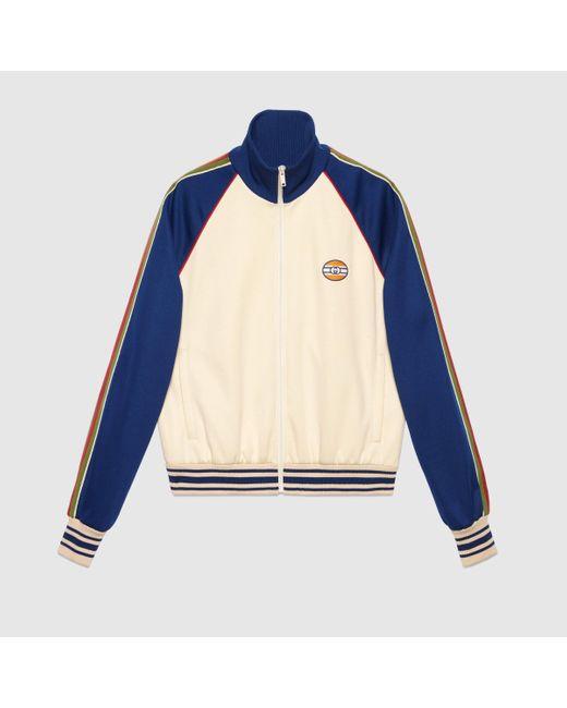 メンズ Gucci グッチオンライン限定 テクニカルジャージー ジップアップジャケット Blue