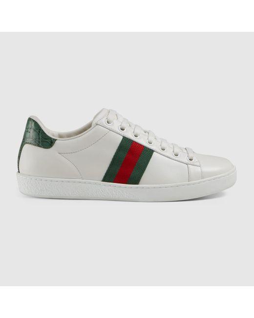Gucci 【公式】 (グッチ)〔エース〕ウィメンズ レザー スニーカーホワイト レザーホワイト White