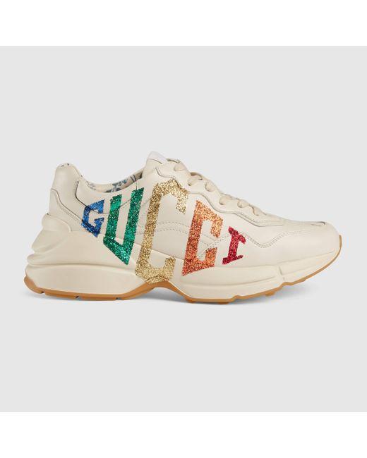 Gucci グッチ〔ライトン〕ウィメンズグリッター ロゴ レザー スニーカー Multicolor