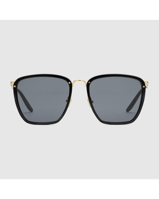 メンズ Gucci グッチオンライン限定 スクエア アセテート&メタル サングラス Multicolor
