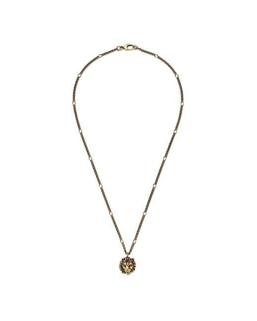 Gucci Metallic Lion Head Pendant Necklace