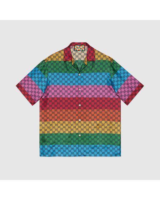 メンズ Gucci 【公式】 (グッチ)GG マルチカラー シルクツイル シャツマルチカラーレッド Multicolor