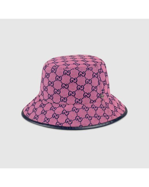 メンズ Gucci 【公式】 (グッチ)GG マルチカラー キャンバス フェドラハットピンク&ブルーピンク Purple