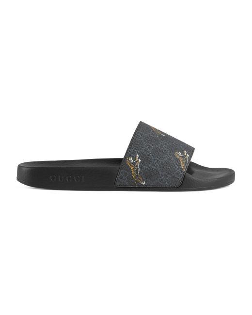 Gucci Black GG Supreme Tigers Slide Sandal for men