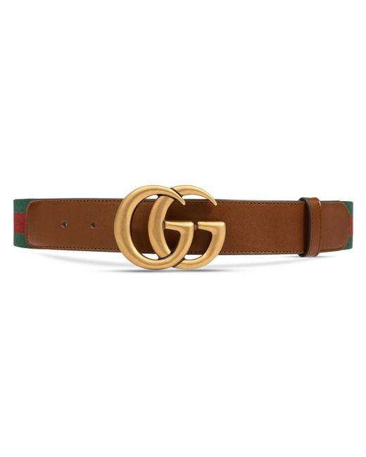 81573fec5c5 Gucci Web Belt With Double G Buckle in Brown - Save 11% - Lyst