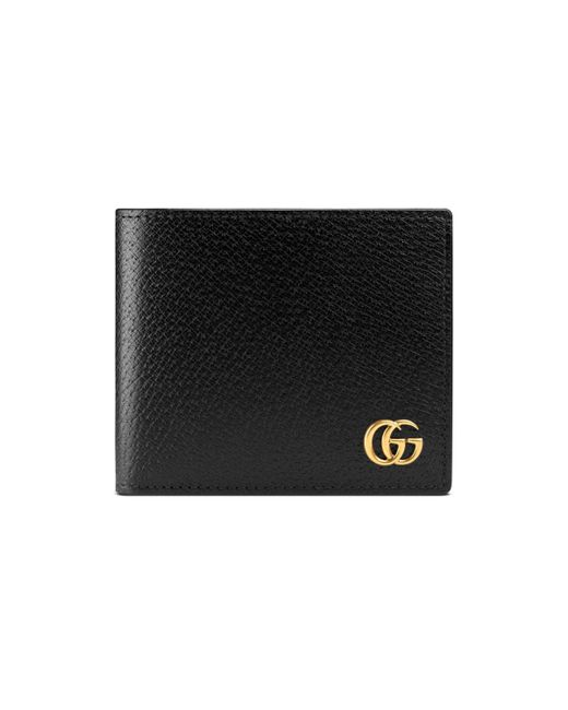 Gucci - Black Gg Marmont Grained Leather Bi Fold Wallet for Men - Lyst