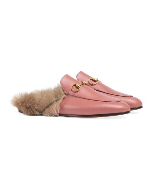 ddd32a1a6f1 ... Gucci - Pink Princetown Fur-lined Backless Leather Loafers - Lyst ...