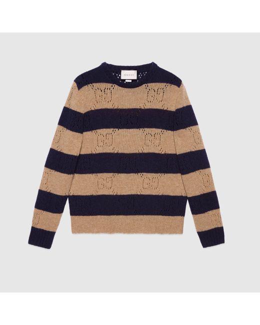 メンズ Gucci グッチGG ウール ニットストライプ セーター Blue