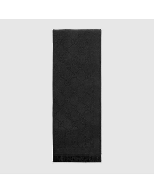 Gucci 【公式】 (グッチ)GGジャカード パターン ニット スカーフブラック ウールブラック Black