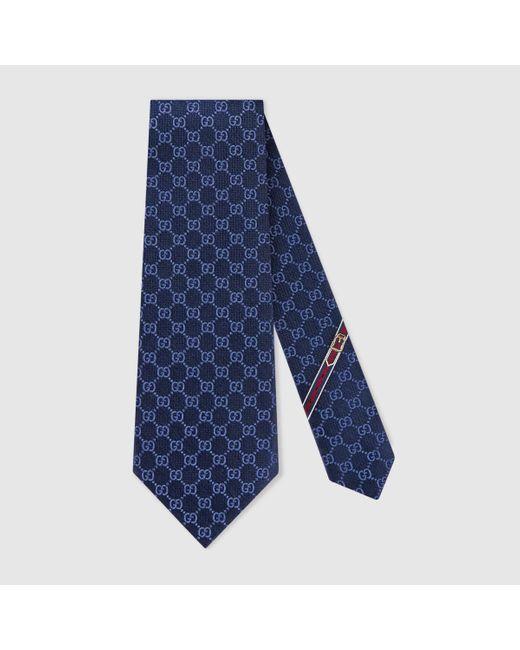 メンズ Gucci グッチGGパターン シルクタイ Blue