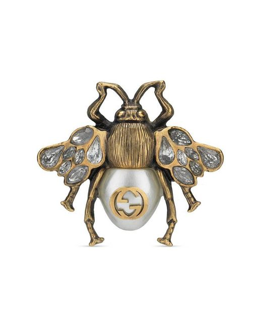 Gucci - Metallic Bee Ring With Crystals And Pearl - Lyst