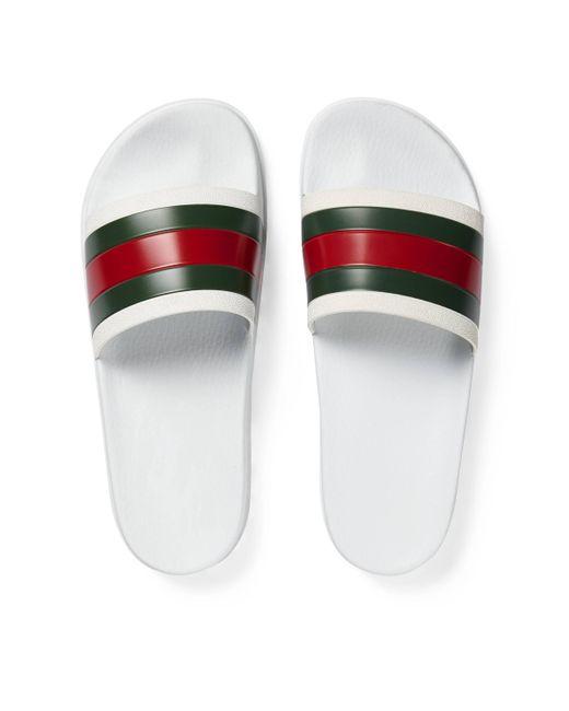 Gucci Pantolette mit Webdetail in White für Herren