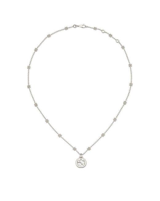 Gucci | Metallic Interlocking G Necklace In Silver | Lyst