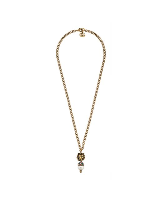 Gucci Metallic Lion Head Necklace With Pearl