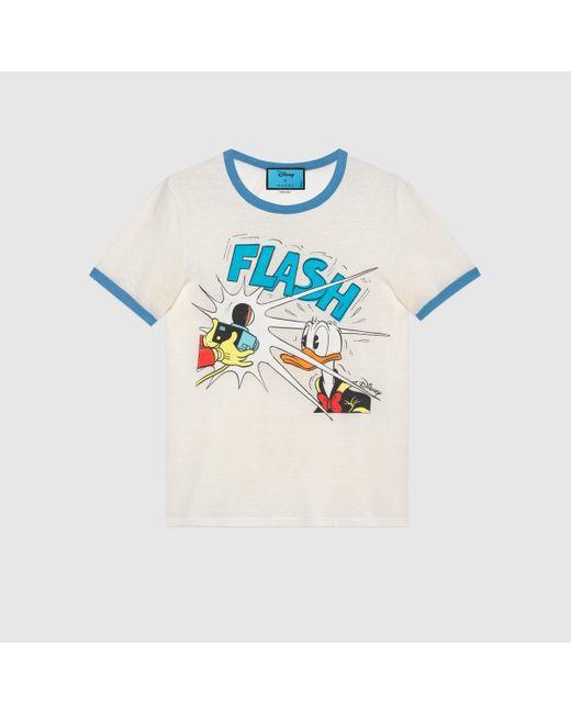 Gucci T Shirt aus Baumwollleinen mit Donald Duck Print in White für Herren