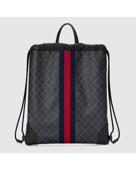 メンズ Gucci グッチソフト GGスプリーム ドローストリング バックパック Black