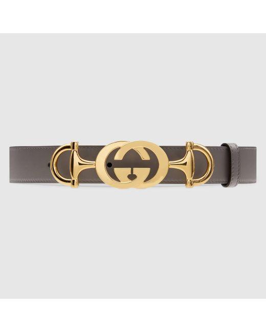 Gucci レザー ベルト(インターロッキングg ホースビット バックル) Multicolor
