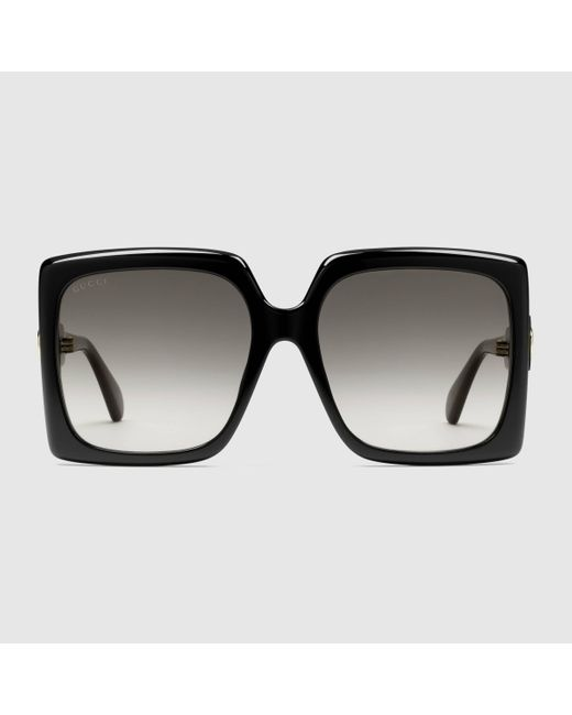 Gucci 【公式】 (グッチ)スクエアフレーム サングラス(アジアン フィット)ブラック&グレーブラック Black