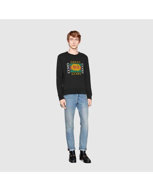 メンズ Gucci グッチグッチ ロゴ コットン スウェットシャツ Black