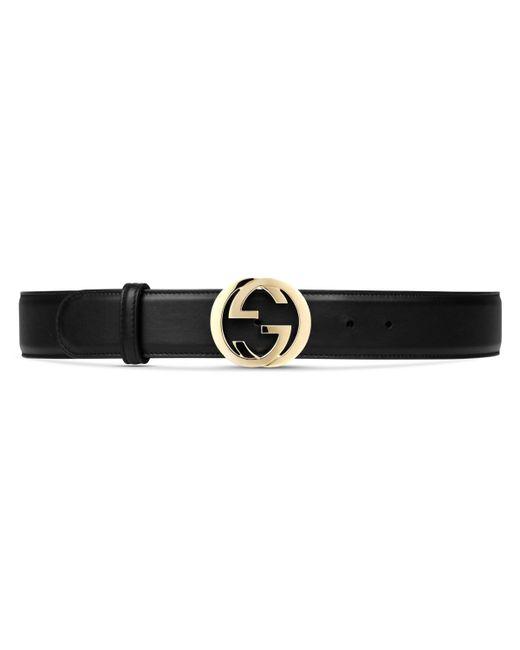 Gucci Black Leather Belt With Interlocking G Buckle