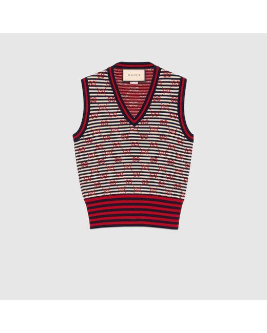 Gucci 【公式】 (グッチ)GGジャカード ウール スリーブレス トップアイボリー、ネイビー、レッドブルー Red