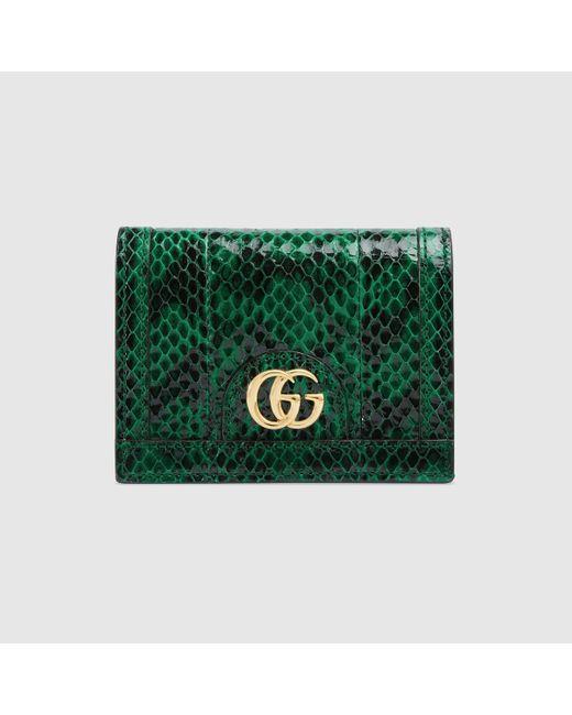 Gucci グッチ〔オフィディア〕スネークレザー カードケース(コイン&紙幣入れ付き) Green