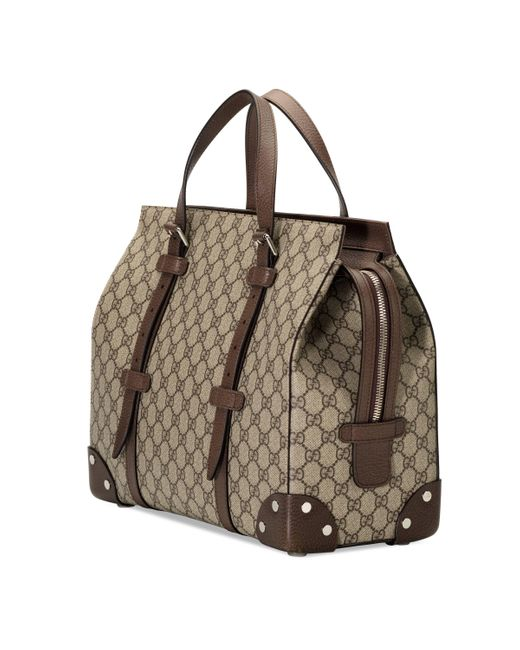 Gucci Natural GG Tote Bag With Leather Details for men