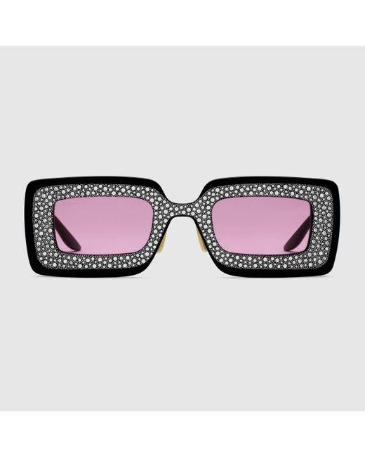 Gucci 【公式】 (グッチ)クリスタル付き スクエアフレーム サングラスブラック アセテートブラック Black