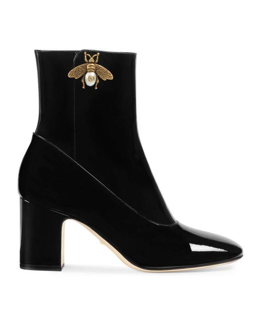 Gucci - Black Patent Leather Ankle Boot With Bee - Lyst