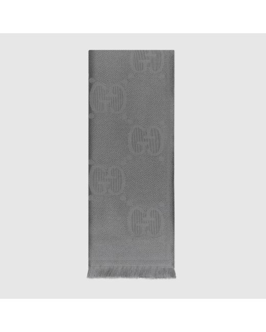 メンズ Gucci グッチGGパターン ウール スカーフ Gray