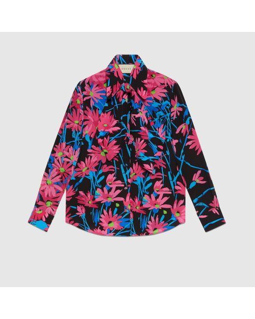 Gucci 【公式】 (グッチ)ケン・スコット プリント シルク シャツブラックブラック Multicolor