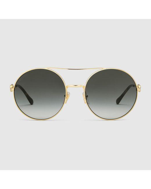 Gucci 【公式】 (グッチ)ラウンドフレーム サングラスゴールド メタル&グレーゴールド Metallic