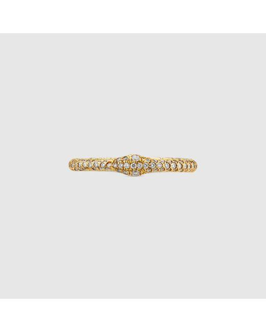 Gucci グッチ公式ダイヤモンド付き ウロボロス ゴールド リング18k イエローゴールド Color_descriptionundefined Metallic