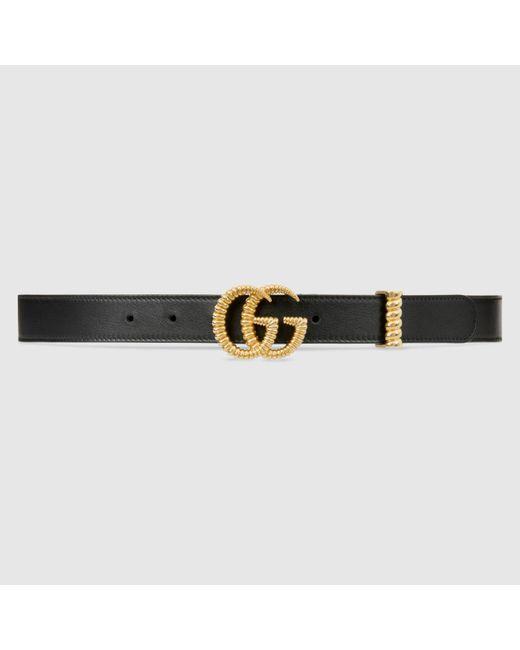 Gucci レザー ベルト(トーション ダブルg バックル) Black