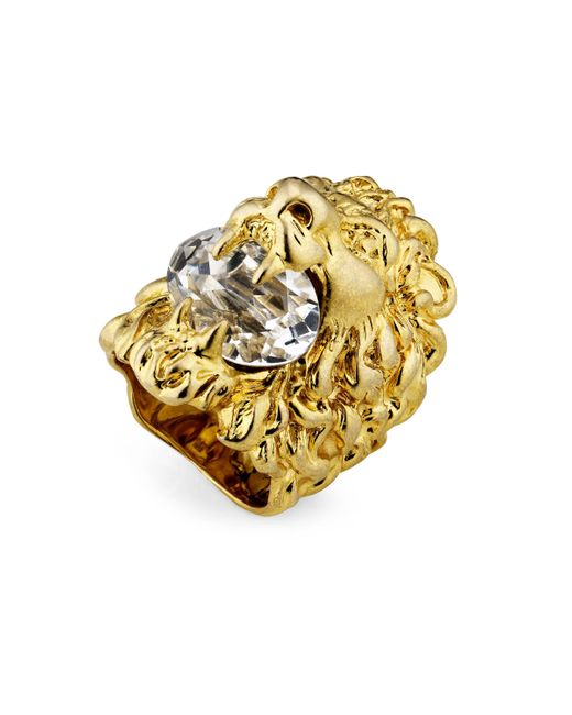 Gucci Metallic Lion Head Ring With Crystal