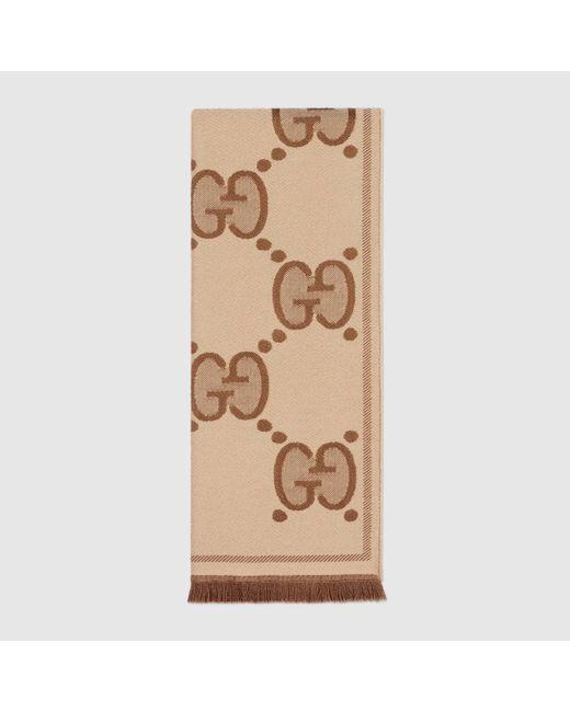 Gucci 【公式】 (グッチ)GG ウールジャカード スカーフベージュ&ブラウンベージュ Natural