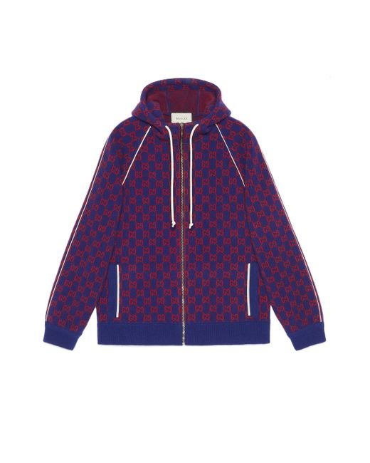 Gucci Blue GG Wool Bomber Jacket
