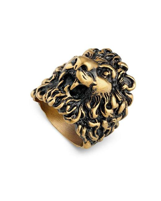 Gucci - Metallic Ring With Lion Head - Lyst