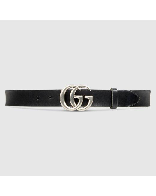 メンズ Gucci 【公式】 (グッチ)レザー ベルト(ダブルg バックル)ブラック レザーブラック Multicolor
