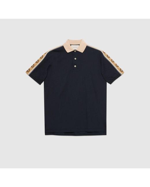 メンズ Gucci 【公式】 (グッチ)インターロッキングg ストライプ付き コットン ポロシャツダークブルー ブルー Black