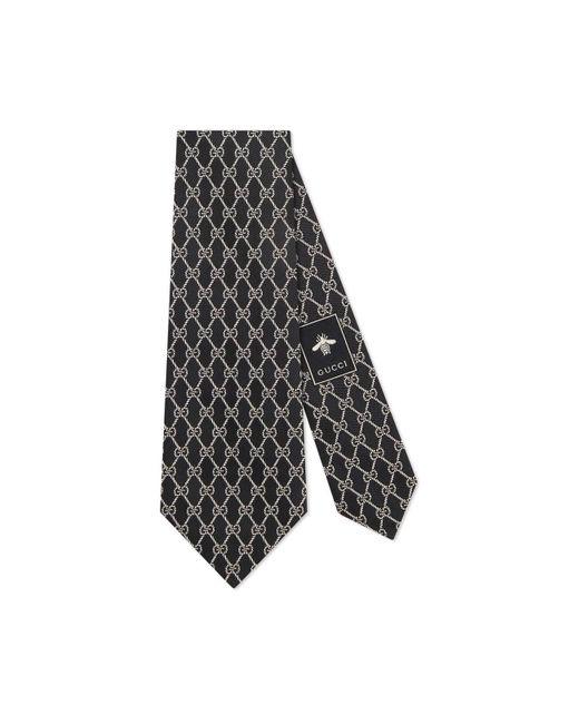 Gucci Black GG Chains Silk Tie for men