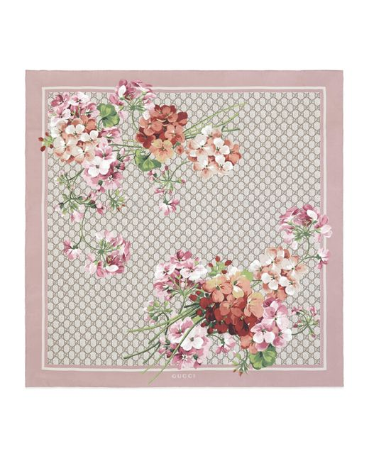 Gucci Pink GG Blooms Print Silk Scarf