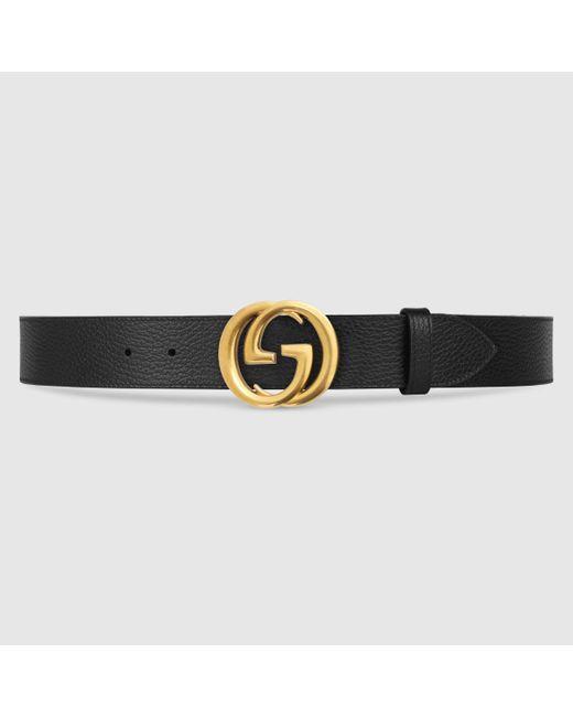 メンズ Gucci 【公式】 (グッチ) レザー ベルト(インターロッキングg バックル)ブラック レザーブラック Multicolor
