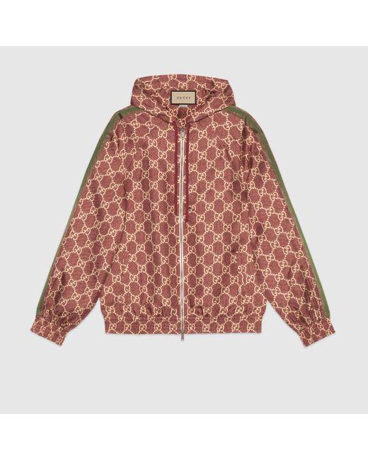 Gucci 【公式】 (グッチ)GGスプリーム プリント シルク ジャケットピンク&ベージュレッド Multicolor