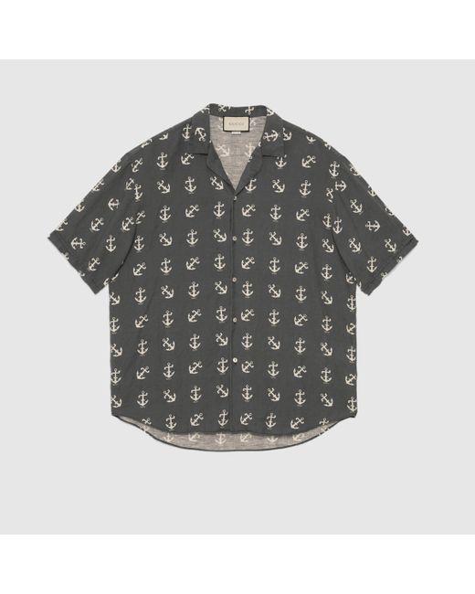 メンズ Gucci グッチグッチ アンカー プリント オーバーサイズ ボウリングシャツ Blue