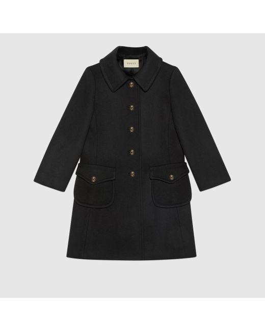 Gucci 【公式】 (グッチ)インターロッキングg ボタン付き ウール コートブラックブラック Black