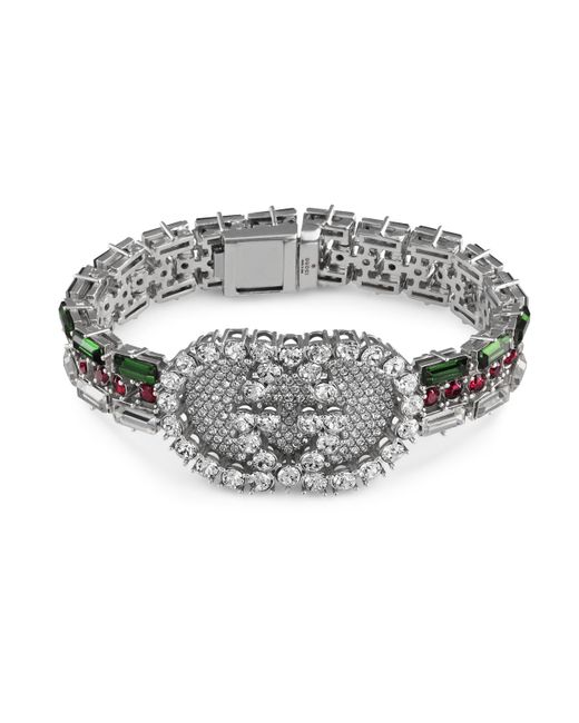 Gucci White Crystal Web Bracelet