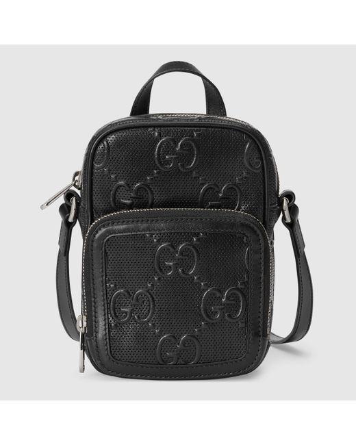 Gucci 【公式】 (グッチ)GGエンボス ミニバッグブラック レザーブラック Black