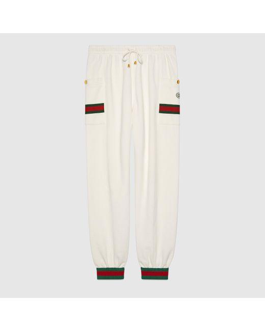 メンズ Gucci 【公式】 (グッチ)ウェブ付き ジャージー ジョギングパンツアイボリーホワイト White