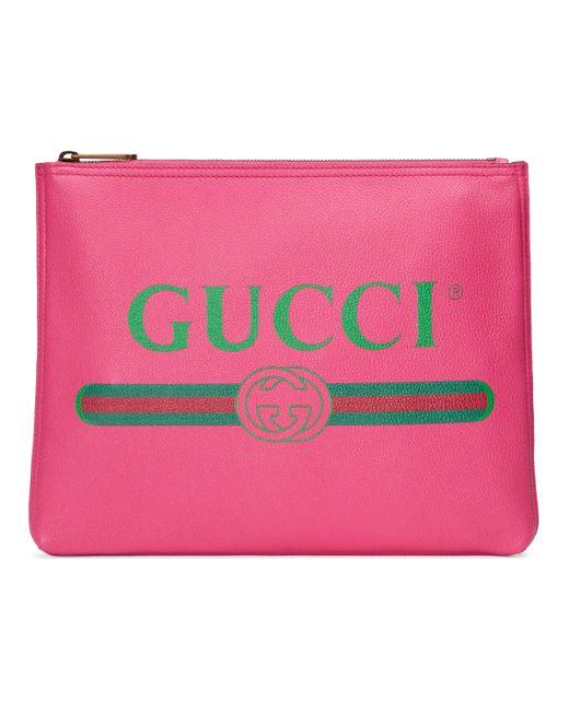 14626c83c1f33 Gucci Mittelgroße Aktentasche aus Leder mit Print in Pink - Sparen ...